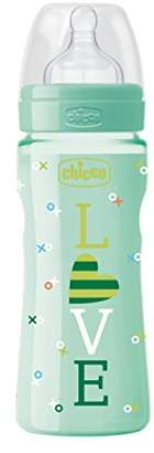 Chicco Silicone Baby Bottle, Fast Flow, 330 mL blue