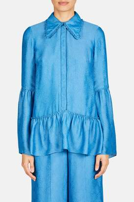 Erdem Kilian Long Sleeve Top With Frill Details And Hem Tier - Blue