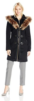 Betsey Johnson Women's Toggle Wool-Blend Coat with Faux-Fur Hood $240 thestylecure.com