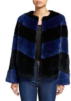 Alice + Olivia Clifton Boxy Striped Fur Short Coat