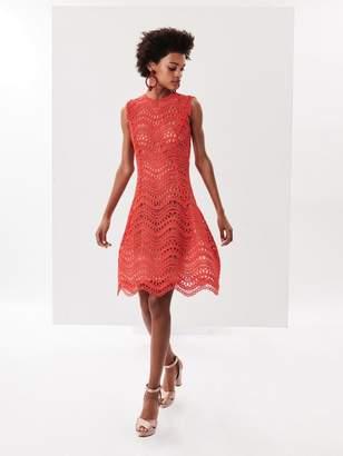 Oscar de la Renta Wave Guipure Lace Cocktail Dress
