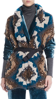 Brunello Cucinelli Peacock Folkloric Paillette Cap-Sleeve Cashmere Chunky-Knit Cardigan w/ Belt