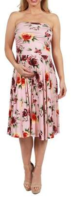24/7 Comfort Apparel Melina Pink Floral Strapless Maternity Dress