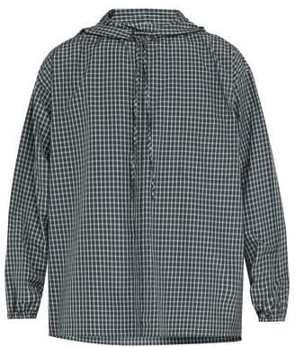 Balenciaga Checked Hooded Zip Through Shirt - Mens - Green