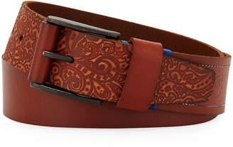 Robert Graham Penniman Paisley-Embossed Leather Belt