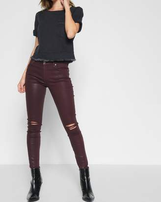 7 For All Mankind Ankle Skinny Coated with Destroy in Scarlet