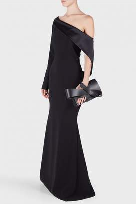 Christian Siriano Textured Crepe Off Shoulder Gown