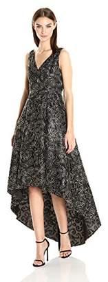 Calvin Klein Women's Sleeveless V-Neck High Low Hem Gown, Black/Gold, 4