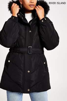 River Island Womens Black Belted Padded Coat - Black