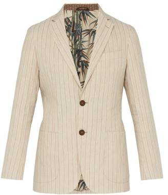 Etro Striped Linen Blend Blazer - Mens - Beige