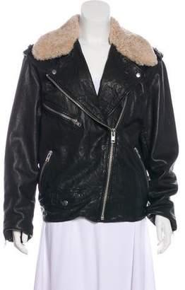 Etoile Isabel Marant Shearling-Trimmed Moto Jacket