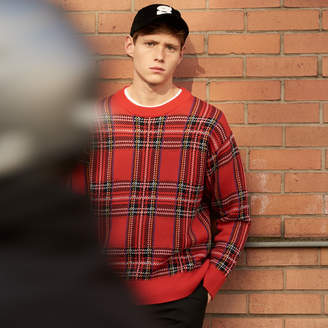 Sandro Tartan-effect knitted sweater