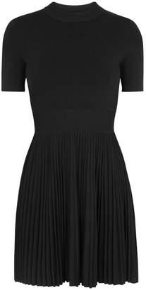 Alexander Wang Black Pleated Stretch-knit Dress
