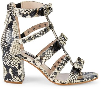 Nine West Giovanna Snake-Embossed Studded Sandals