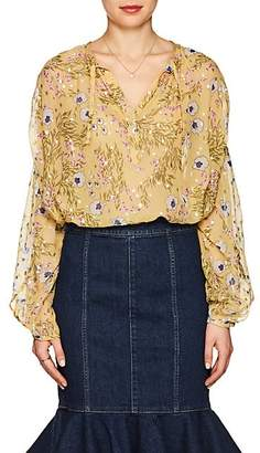 Isabel Marant Women's Mia Floral Silk Peasant Blouse - Yellow
