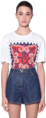 Valentino Logo Printed Cotton Jersey T-Shirt