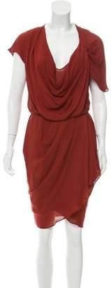 Haute Hippie Draped Knee-Length Dress