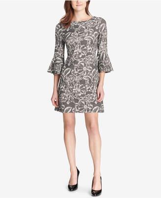 Tommy Hilfiger Bell-Sleeve Floral Knit Jacquard Dress