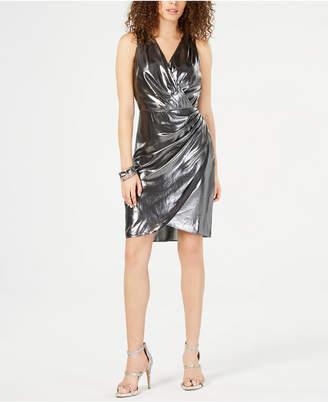 INC International Concepts I.n.c. Ruched Foil Surplice Dress