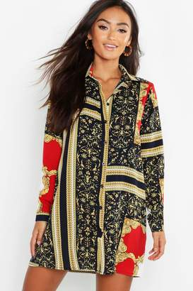 boohoo Petite Chain Print Shirt Dress