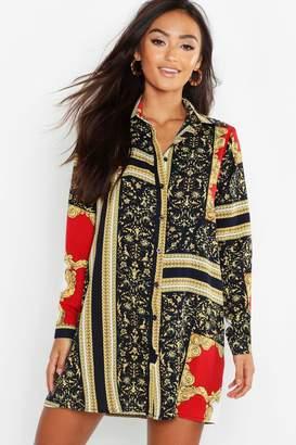 boohoo Petite Chain Print Shirt Dress