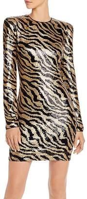Aqua Capsule Zebra-Stripe Sequined Dress - 100% Exclusive