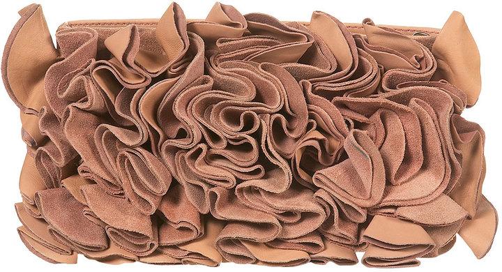 Leather Flower Clutch Bag