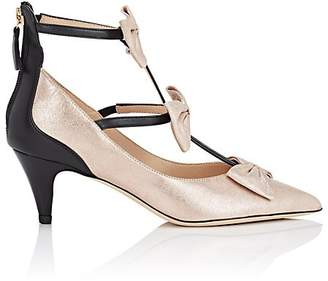 Repetto WOMEN'S BOW-EMBELLISHED LEATHER T-STRAP PUMPS