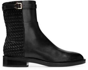 Cole Haan Women's Lexi Grand Stretch Leather and Woven Ankle Boots - Black - Size 9.5