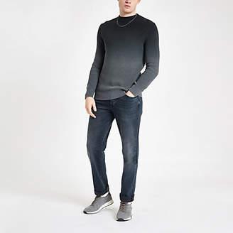 Mens Grey ombre slim fit knit jumper
