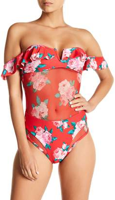 Betsey Johnson Floral Off-the-Shoulder One-Piece Swimsuit