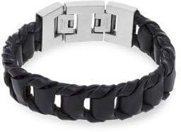 Lord & Taylor Men's Leather & Stainless Steel H-Link Braided Bracelet