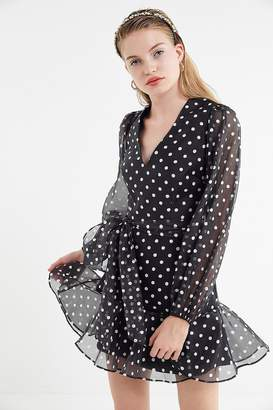 Keepsake Limits Polka Dot Puff Sleeve Mini Dress