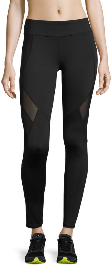 Marc NY Performance Mesh-Panel Compression Leggings, Black