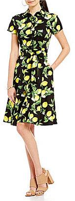 Leslie Fay Lemon-Print Shirt Dress $98 thestylecure.com