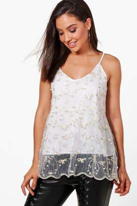 boohoo Ava Embroidered Pearl Embellished Mesh Cami