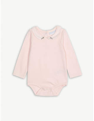 The Little White Company Embroidered bunny collar bodysuit 0-24 months
