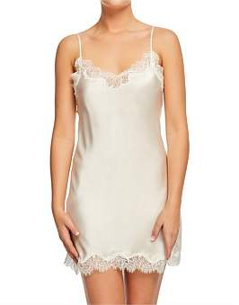 Sainted Sisters Silk Satin Chemise With Lace