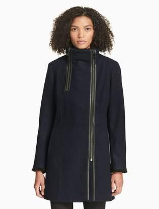 Calvin Klein solid asymmetric zip coat