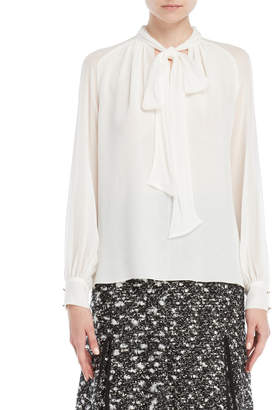 Giambattista Valli Tie-Neck Silk Blouse