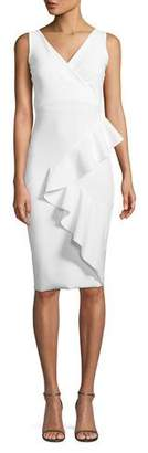Chiara Boni Ceren Asymmetric-Ruffle Wrap Sheath Dress