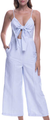 ENGLISH FACTORY Sleeveless Cropped Tie-Detail Jumpsuit
