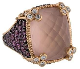 Judith Ripka 18L Rose Quartz, Pink Sapphire & Diamond Monaco Cocktail Ring