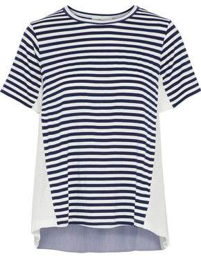 Clu Open Knit-Paneled Striped Stretch-Jersey T-Shirt