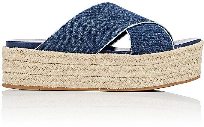 Miu MiuMiu Miu Women's Denim Espadrille Platform Sandals