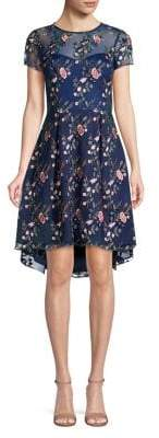Adrianna Papell Floral High-Low Fit-&-Flare Dress