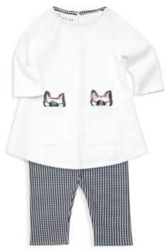 Baby Girl's Sequin Cat Top and Leggings Set