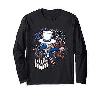 SAM. Dabbing Uncle Bowling 4th of July Independence Day USA Long Sleeve T-Shirt