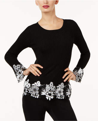INC International Concepts I.n.c. Ribbed Crochet-Lace Sweater