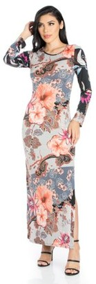 24seven Comfort Apparel Floral Fantasy Long Sleeve Maxi Dress With Side Slit